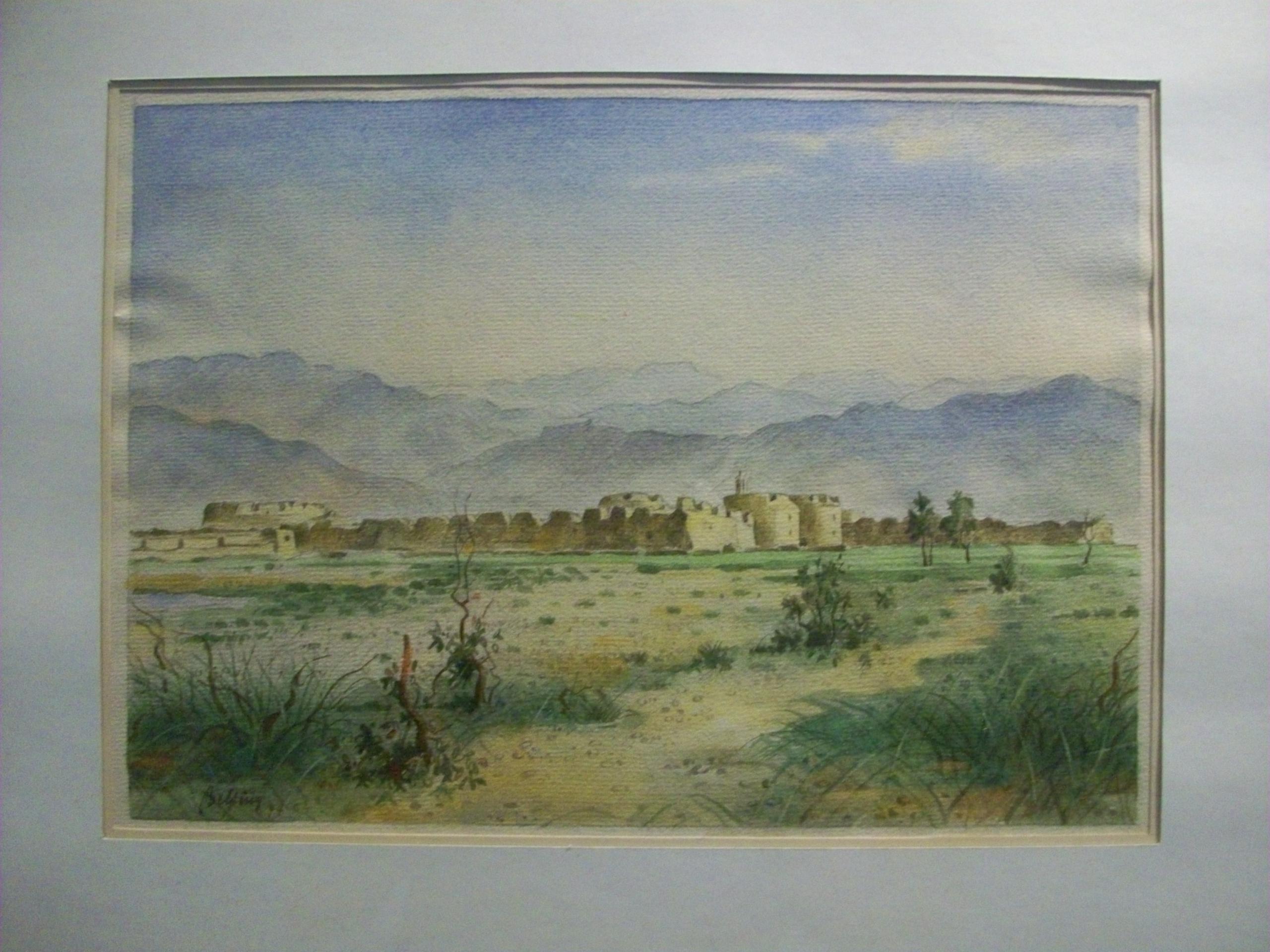 Aquarell Altes Kastell bei Patras 1944